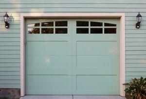 Light green garage door